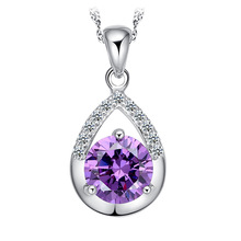 Buy Pameng Silver Plated Korean OL Water-wave Chain White Purple Crystal Pendant Necklace women girl for $1.28 in AliExpress store