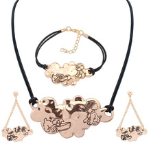 Lovely Pet Jewelry Sets Dog Puppy Lovers Pendant Necklace Drop Earrings Bracelet Gold Silver Charm Gift for pet owner(China (Mainland))