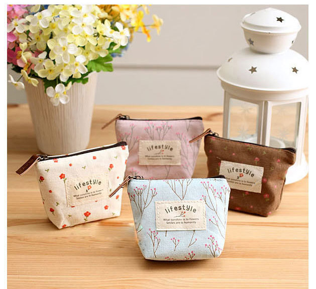 4 Colors Korean Fashion pastoral Zipper Coin Purse Children Cute Canvas Material Mini Money Storage bags(China (Mainland))