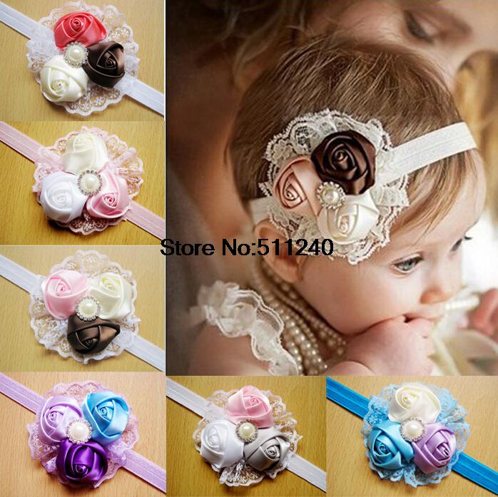 12 kinds of styles 1PCS Retail infant flower headband baby pink lace hair band infant girl felt flower scarf(China (Mainland))