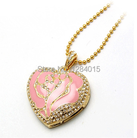 Fashion necklace USB Flash Drive heart shape pendant Pen drive Gift Jewelry crystal memory stick pendrive 8GB/16GB Wholesale(China (Mainland))