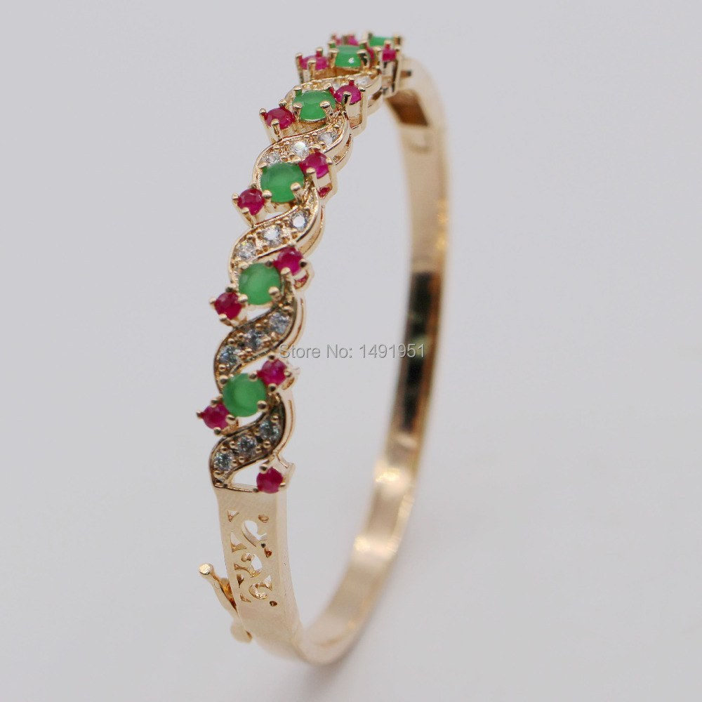 Fashion Exquisite Hollow out 18k Gold Plated Natural Ruby&Emerald AAA CZ Bracelet Bangle(China (Mainland))
