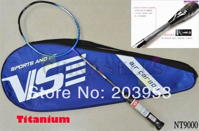 new original high quality VS carbon titanium Nano resin badminton racquet badminton racket NT9000 free strings & grip max28lbs(China (Mainland))