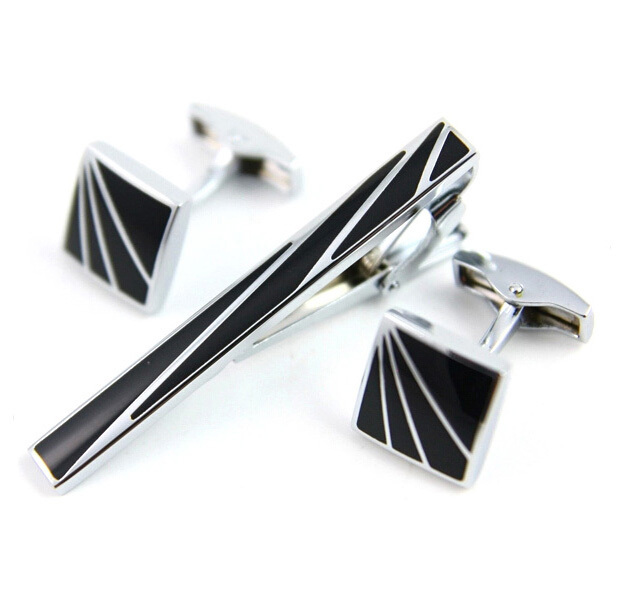 Tie Clip & Cufflinks Set Men French Black Square Tie clips Cuff links Man Fashion Zinc Alloy Shirt Clip Cuff link Gift(China (Mainland))