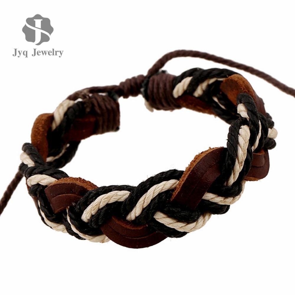 2015 Black White Braided Handmade Rope Genuine Leather Bracelets Fashion Bracelets bangle for Women Men Jewelry