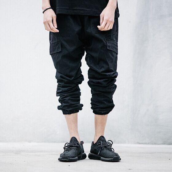 Kanye West Yezzy Korean Hip Hop Fashion Urban Clothing Mens Jumpsuit Man Black Joggers 30-36 Designer Jogger Men Cargo Pants(China (Mainland))