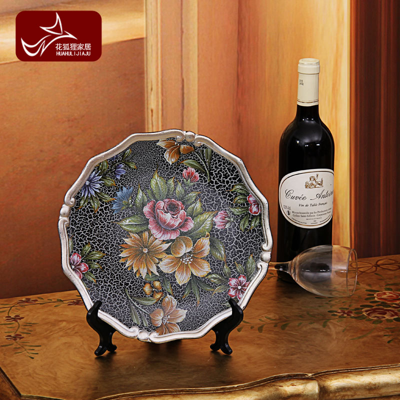 Free Shipping American style home decoration fashion decoration bookcase hand painting ceramic table hanging plate belt mount(China (Mainland))