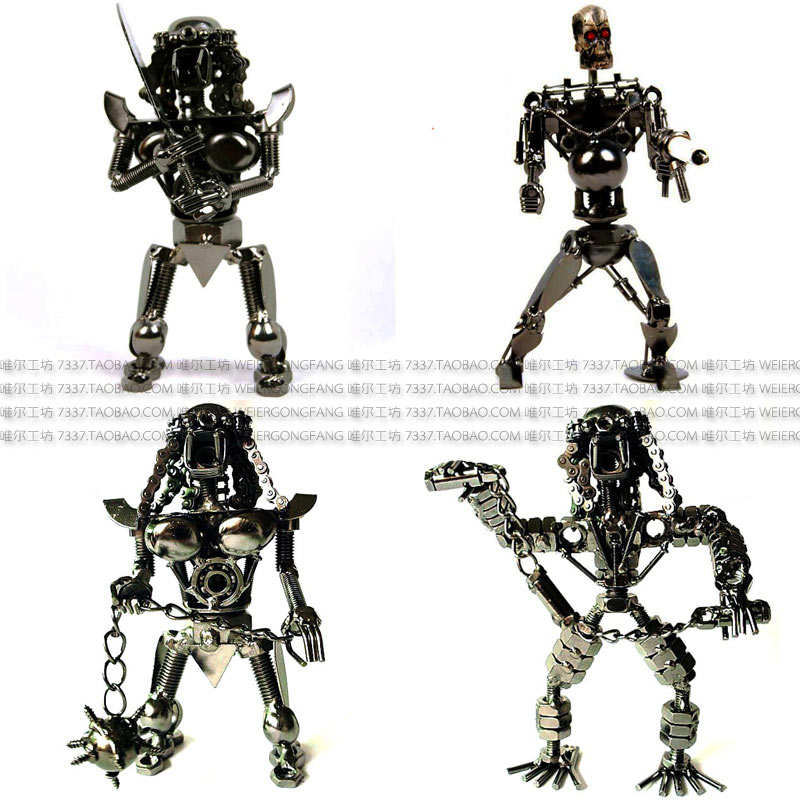 Fashion vintage Metal Crafts iron robot model furnishing articles ornament free shipping(China (Mainland))