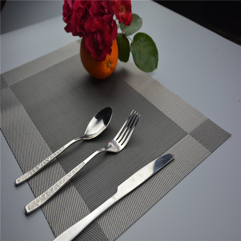 NEW PVC placemat 45*30cm multi Rectangular grid insulation sliver placemats Western pad dining table mat Easy clean placemat(China (Mainland))