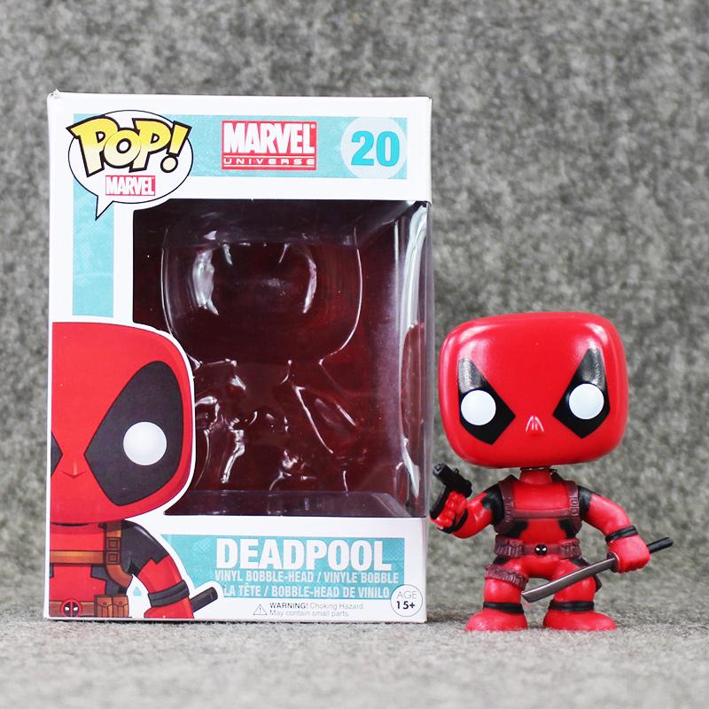 Hot sale 8.5cm Funko Pop Deadpool PVC Figures Action Toys Wacky Wobbler Bobble Head Collection Model Doll X-Men Kids Gifts(China (Mainland))
