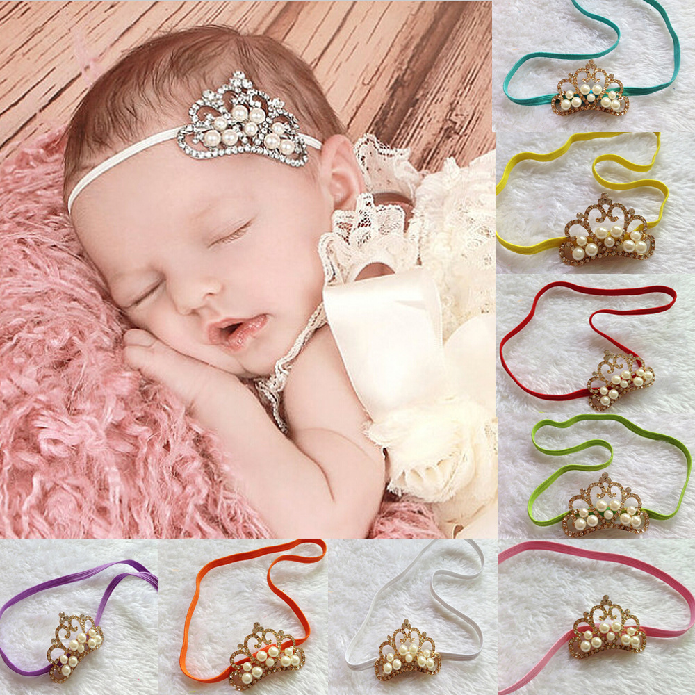 Hot Sell 6/Pcs Infant Crown Pearl Baby Girl Headwear Beautiful Princess Coronation Hair Accessories Headband Wholesale(China (Mainland))