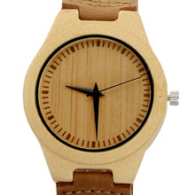 Fashion Stylish Men's White Bamboo Wood Watch With Janpen MIYOTA Movement With Genuine Cowhild Leather Best Gift For Friends