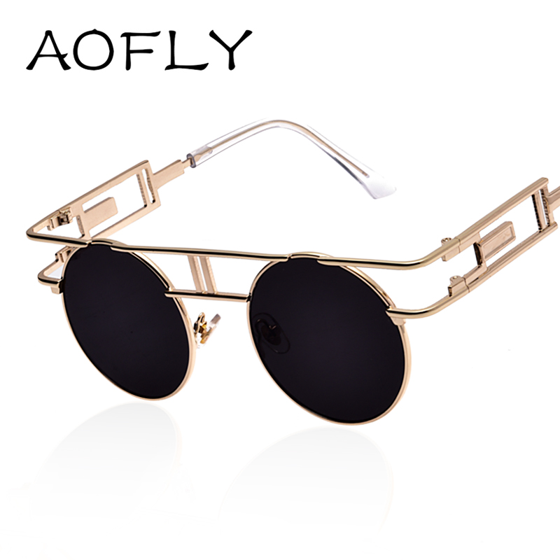 AOFLY Fashion Metal Frame Steampunk Sunglasses Women Brand ...