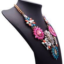 Luxury Crystal Flower Big Statement ZA New Color Necklace Women Fashion Jewelry Vintage Necklace Jewelry 2015
