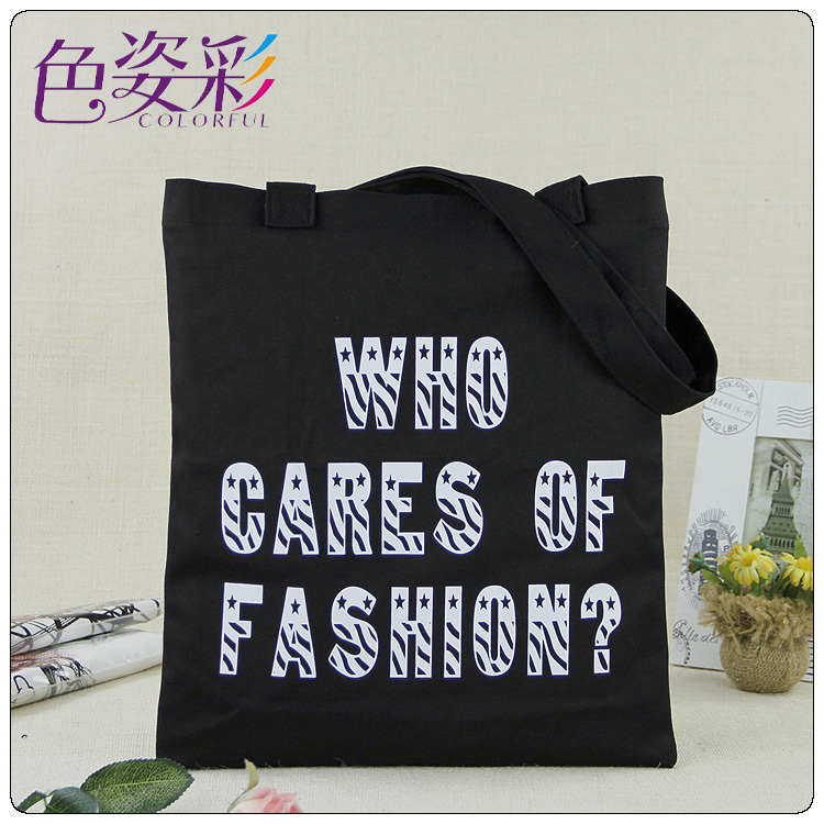 2015 new products Exquisite letter pattern black women canvas shopping bags casual shoulder bag handbag tote shopping bag(China (Mainland))