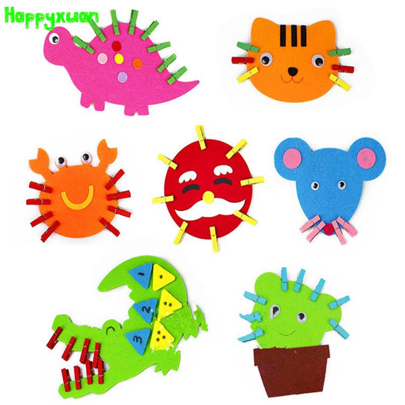 4pcs/lot Non-woven Cartoon Animal Clip Art Teaching Materials Puzzle Handmade Educational Toys(China (Mainland))