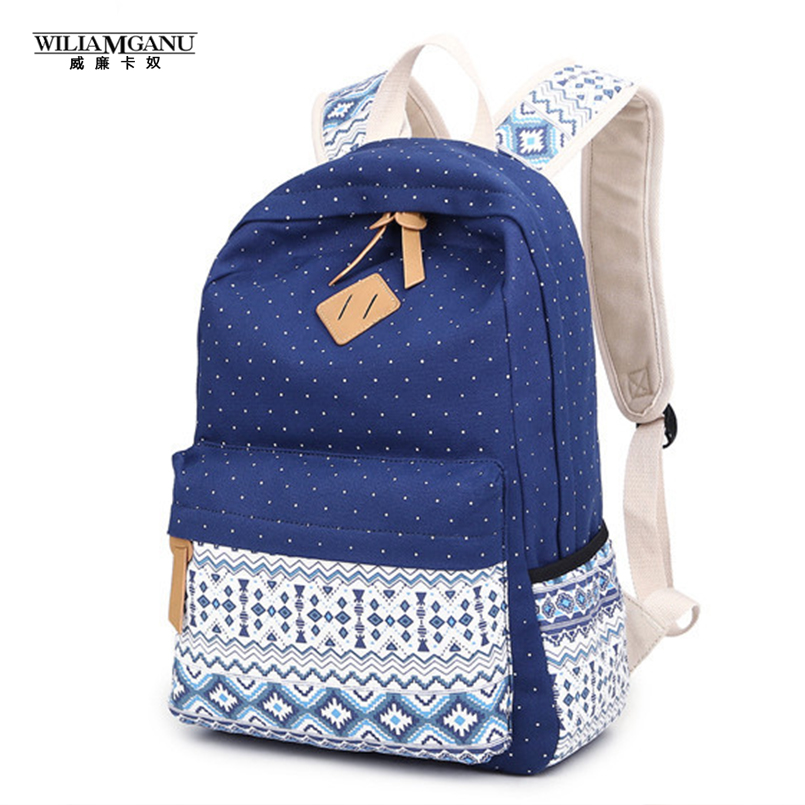 WILIAMGANU Women Backpack for School Teenagers Girls Vintage Stylish Ladies Bag Backpack Women Dotted Printing High Quality(China (Mainland))