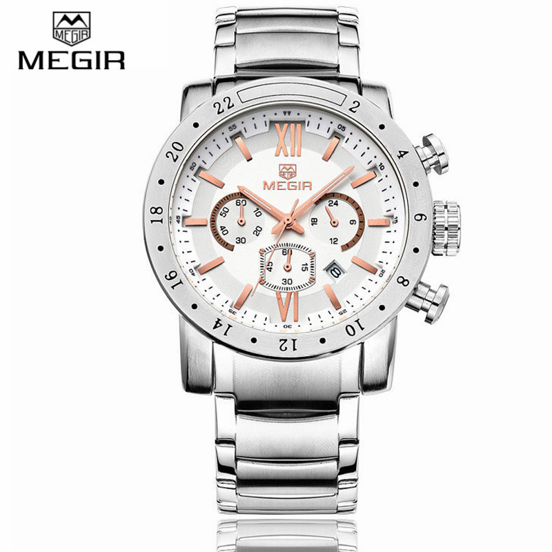 MEGIR Stainless Steel Luminous Top luxury Brand Mens Watches Business Military Army Quartz-Watch Male 30M Waterproof Wristwatch<br><br>Aliexpress