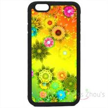 For iphone 4/4s 5/5s 5c SE 6/6s plus ipod touch 4/5/6 back skins mobile cellphone cases cover Sunflower Flowers Floral Black
