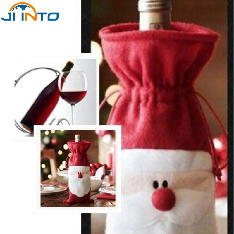 Red Wine Bottle Cover Bags Christmas Dinner Table Decoration Home Party Decors Santa Claus Christmas Supplier Free Shipping(China (Mainland))