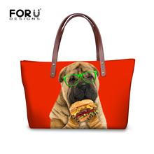 Buy Custom Design Cute Pug Dog Printed Casual Tote Fashion Women Beach Bag Female Handbag Daily Shoulder Shopping Bags Bolsas Mujer for $21.59 in AliExpress store