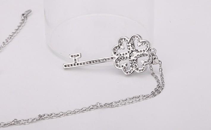 Luxury Dazzling AAA+ Swiss Cubic Zirconia Women's Key Pendant necklaces Fashion Bijoux Femme Teen Girls Gifts 2015 New Design 4