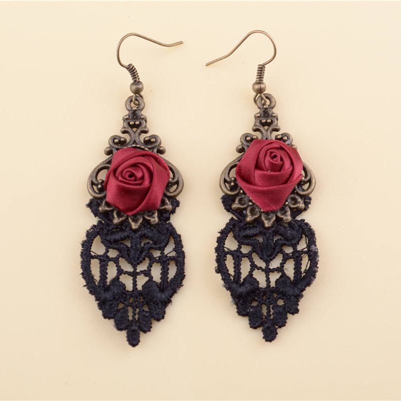 Gothic Rose Drop Earrings Flower Lace Tassel Earring Women Antique Bronze Hollow Dangle Statement Jewelry Accessories(China (Mainland))