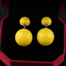 16 Colors Brand Double Side Earrings Trendy Cute Charm Double simulated Pearl Statement Ball Stud Earrings Accessories(China (Mainland))