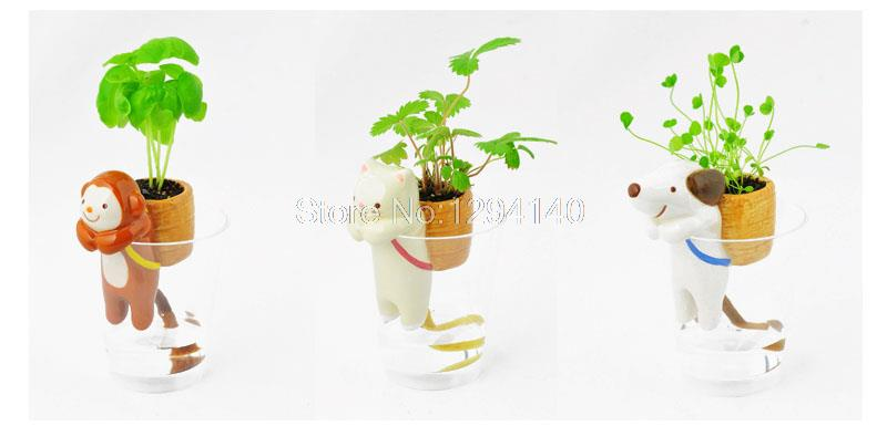 2015 Free Shipping 3Pieces Animal Planters flower pots planters Self-Watering Tail Planters Cat+Dog+Monkey(China (Mainland))