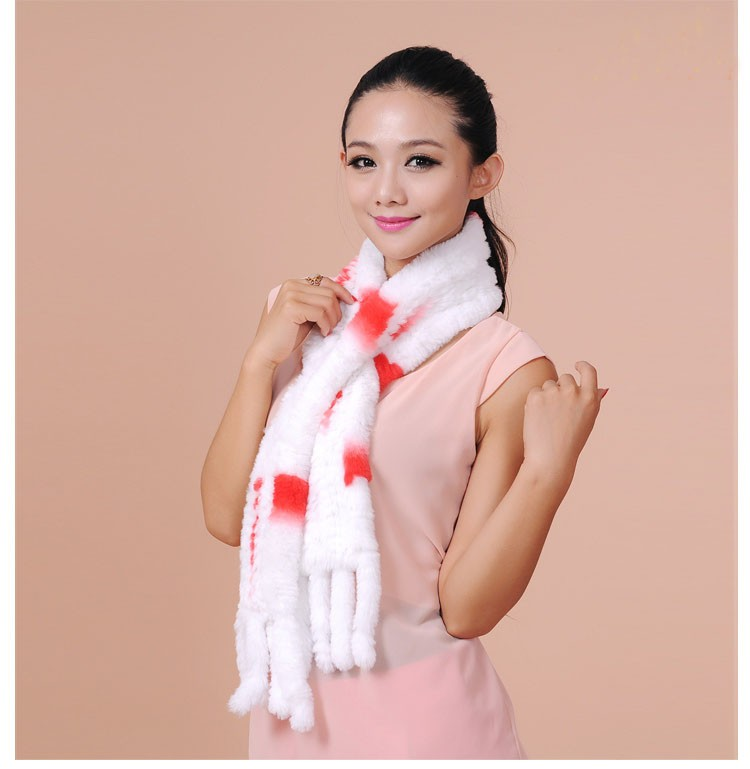 2016 Winter scarf women hot sale genuine rex rabbit fur knitting scarves for girls warm long fur muffler lady scarf with tassel