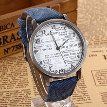 2015 New Stylish Unisex Watch Men Sports Watches Denim Fabric Women Dress Watch news paper twatch Free Shipping relojes Feminino
