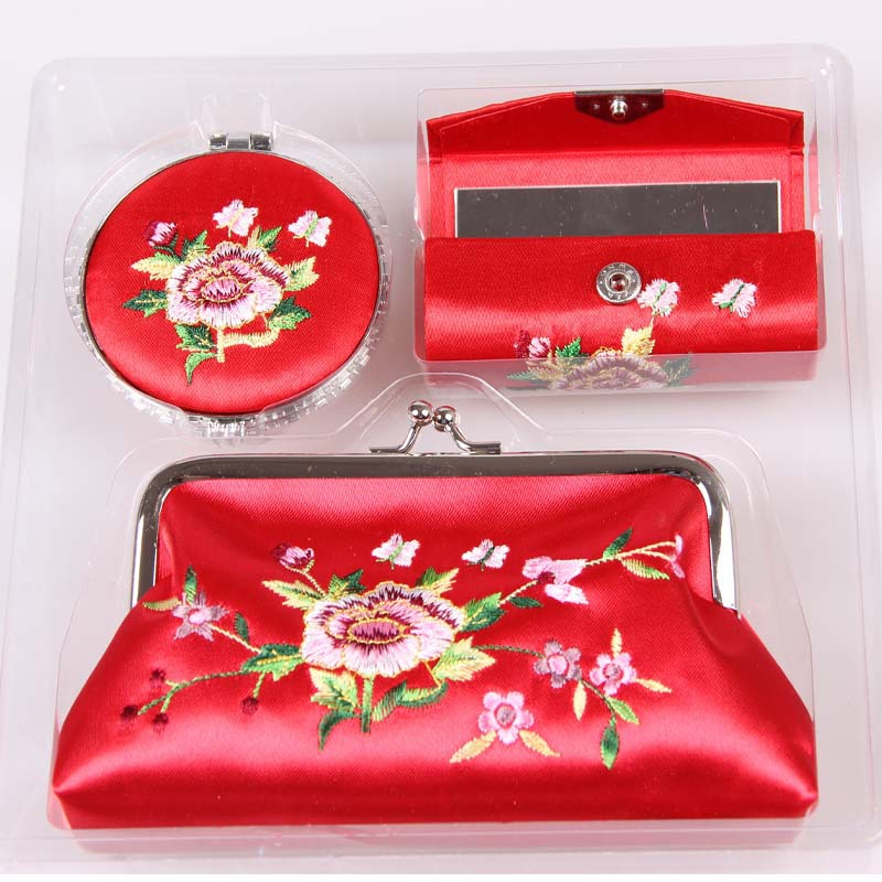 Unique vintage tang silk women wallets make-up mirror box of three-piece suit<br><br>Aliexpress