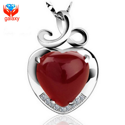 925 Sterling Silver Jewelry Top Quality Natural Red Agate Heart Pendant Necklace for Women Romantic Gift of Valentines ZN063(China (Mainland))