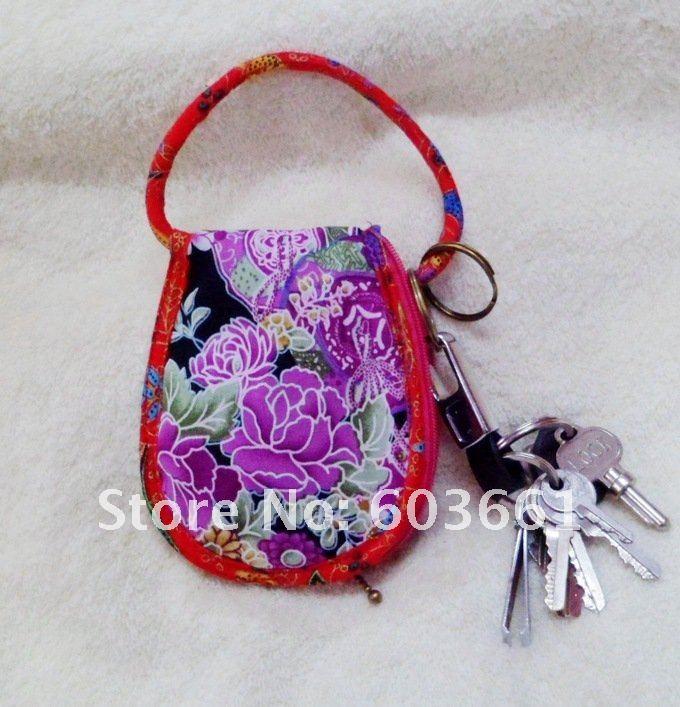 Free Shipping! wholesale 10 pcs Fashion silk Coin Purse bag,key bag,Key chain,key ring(China (Mainland))