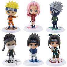 6Pcs/set Anime Naruto Cartoon Q Version Naruto/Kakashi/Sakura/Sasuke/ PVC Model Toys Action Figure Kids Collectible SA216 - Lucky bags home store