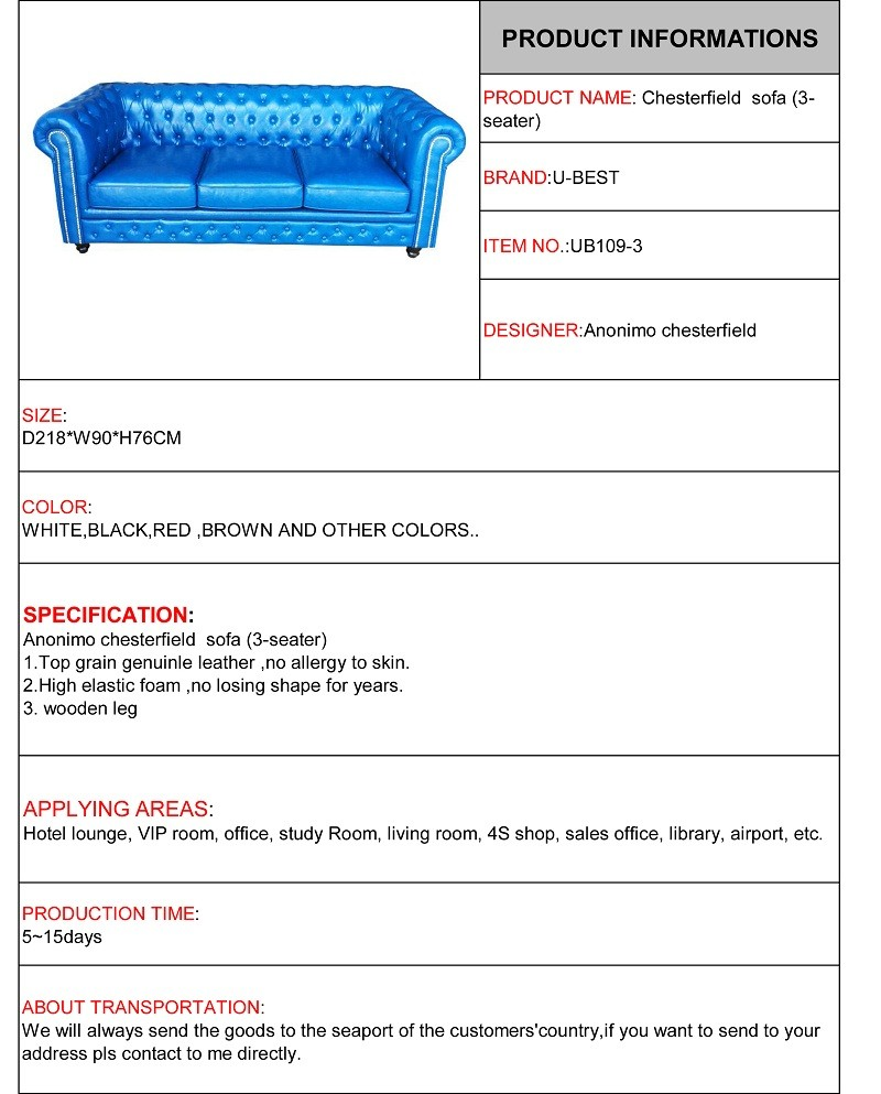 U-BEST Chesterfield' Sofa/Couch – Red Leather Stud  3 seater chesterfield,Country Style living room sofa