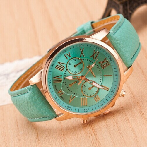 Гаджет  Hot Sale Brand Famous Geneva Casual Leather Strap Quartz Watch Fashion Decoration Three Eyes Roman Number Rose Gold  Wristwatch None Часы