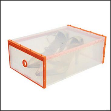1pcs lot orange border transparent shoe boxes clear plastic pp storage box packaging box for. Black Bedroom Furniture Sets. Home Design Ideas