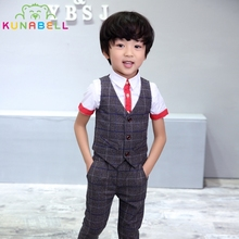 Buy Baby Boys Children Wedding Clothes Kids Tuxedo Formal Suit Blazer Plaid Vest Shirt Pants Toddler Birthday Dress Party Set B038 for $18.07 in AliExpress store