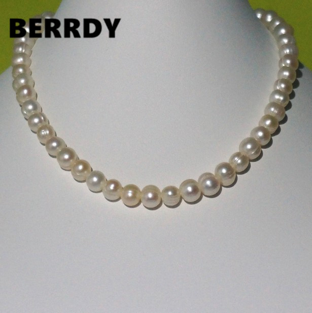 REAL PEARL 9mm Pearl Size 100% Genuine Freshwater Cultured Pearl Necklace for Nice Lady Female Gift Hot Sale(China (Mainland))