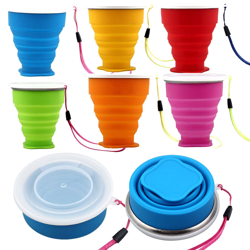 2016 Vogue Outdoor Travel Silicone Retractable Folding Cup Telescopic Collapsible water bottle drop shipping(China (Mainland))