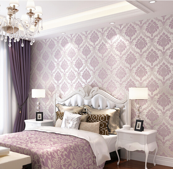 Gallery for purple wallpaper for bedrooms - Beige and purple living room ...