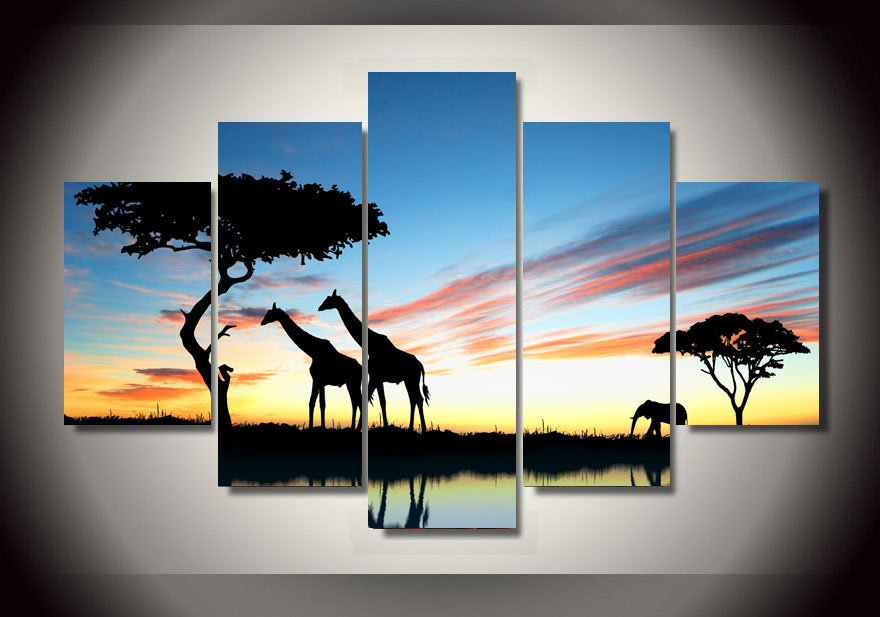 2015 Framed Printing Africa landscape Safari Group Painting room decor print poster picture canvas famous paintings flowers(China (Mainland))
