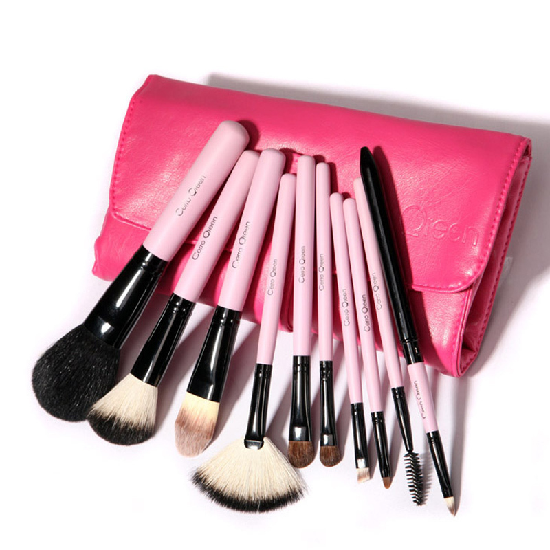 natural makeup Brush Brushes goat Qreen Pcs Hair brushes Set Cerro hair  Goat 10  Makeup Makeup Natural