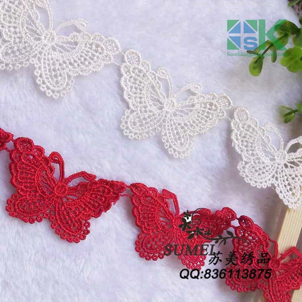 Shiny DIY New Lace wholesale 20 Pieces / Lot Exquisite water soluble red butterfly lace trim clothes wedding hair bow applique d(China (Mainland))