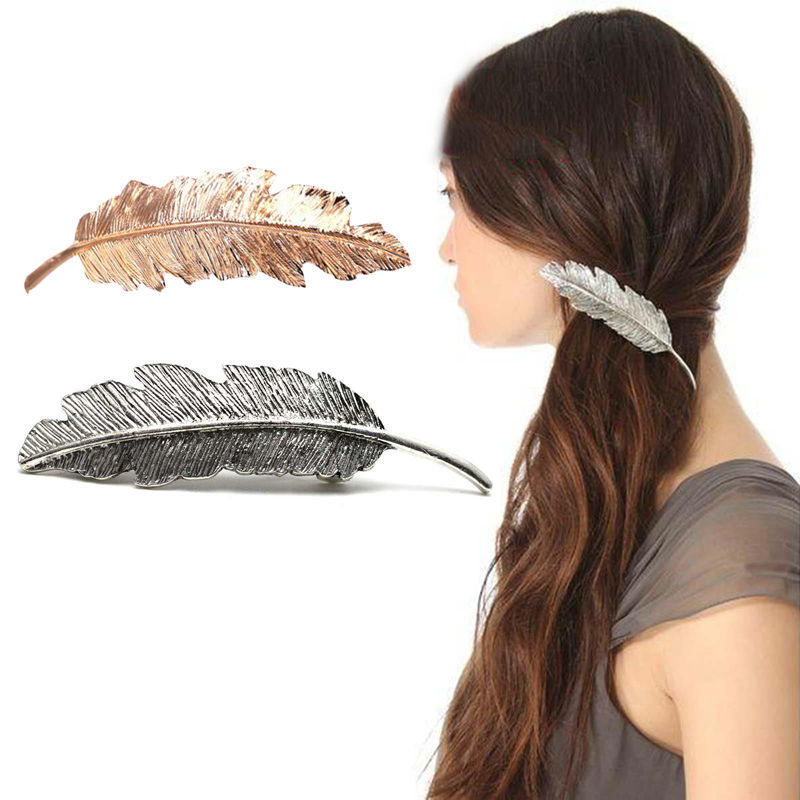 1 X Fashion Women Lady Gold Silver Leaf Hair Clip Shine Rhinestone Hairpin Barrette Hair Decor AccessoriesОдежда и ак�е��уары<br><br><br>Aliexpress