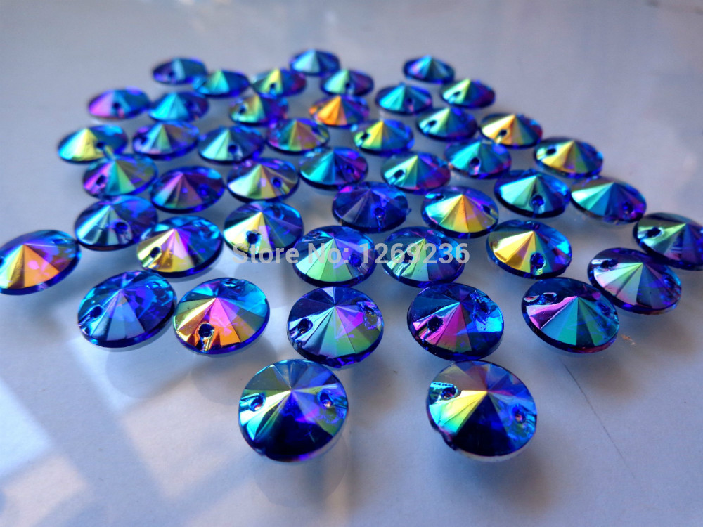 Round 10mm 400pcs Sew on Loose Beads Crystals Blue AB colour Rhinestones  Accessories For Hand Sewing Strass Diamond m45 bf2ff405c481