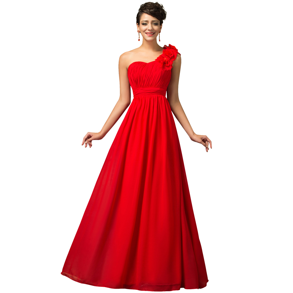 Free Shipping Grace Karin Women 2015 Long Cheap Evening Dress One Shoulder Formal Red Evening
