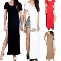 Women dresses 2014 Summer long dress side split tee shirt bodycon maxi shirt dress Party Gypsy Dress B2# 41