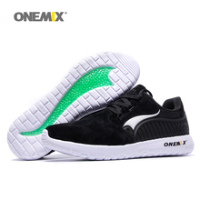 ONEMIX Man Running Shoes For Men Fashion Retro Suede Run Athletic Trainers Black PigSkin Sports Shoe Outdoor Walking Sneakers